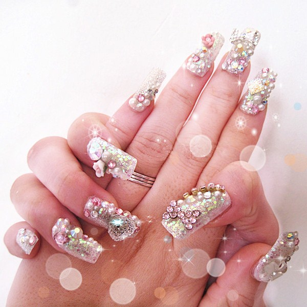 Free-shipping-10pieces-lot-Sparkling-Diamond-Luxury-Bride-Art-Fake-Nails-Customize-Handmade-Finished-Products (Copy)
