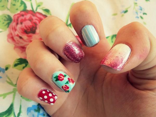 vintage floral pink cath kidston glitter floral nail art easy diy rose dot (Copy)