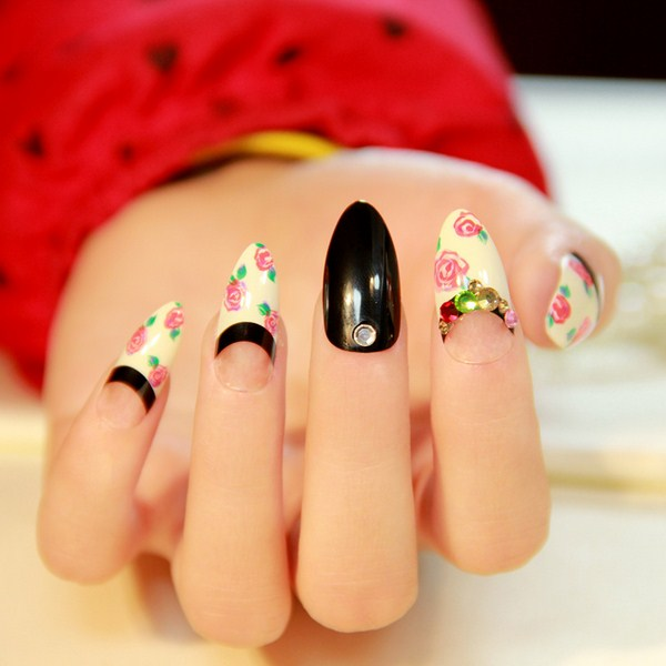 2014-New-Arrival-Limited-Fake-font-b-Nails-b-font-Pointed-Toe-French-font-b-Rose (Copy)
