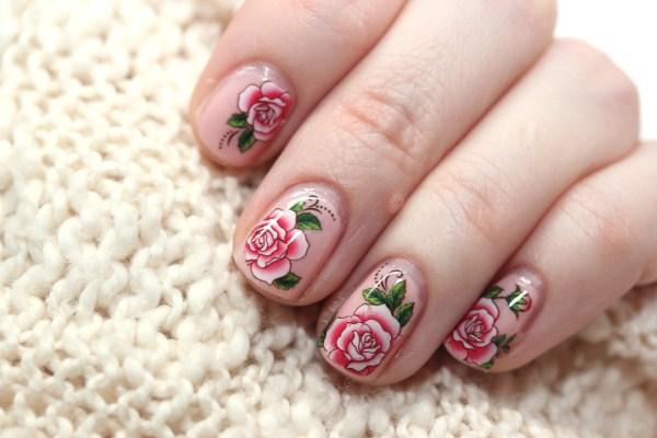 rose nail art water decals nails (Copy)