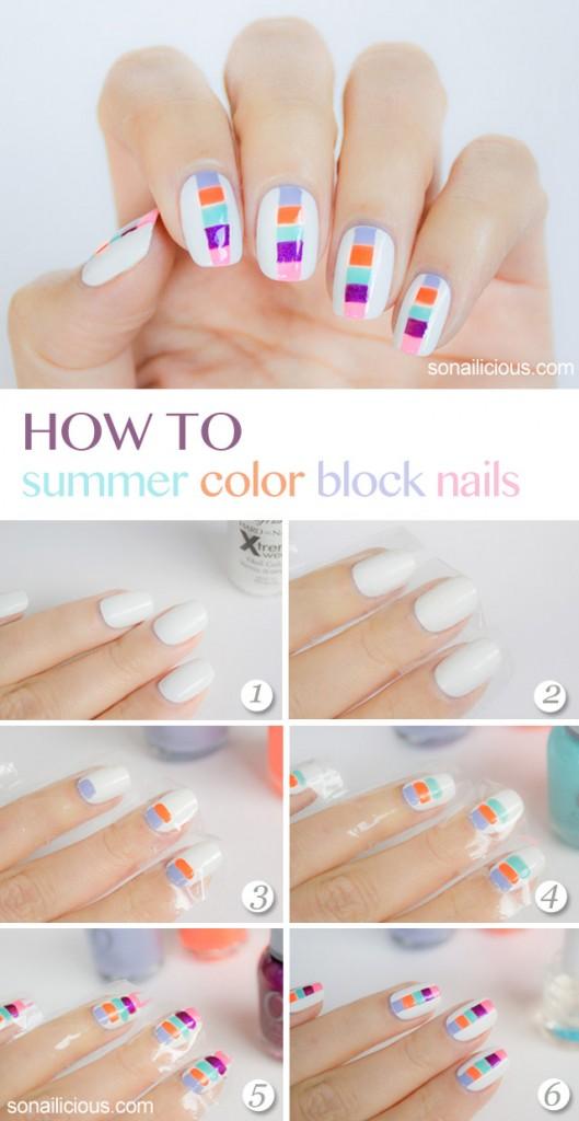 mẫu nail color block