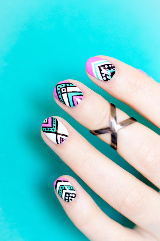 thiết kế nail Aztec