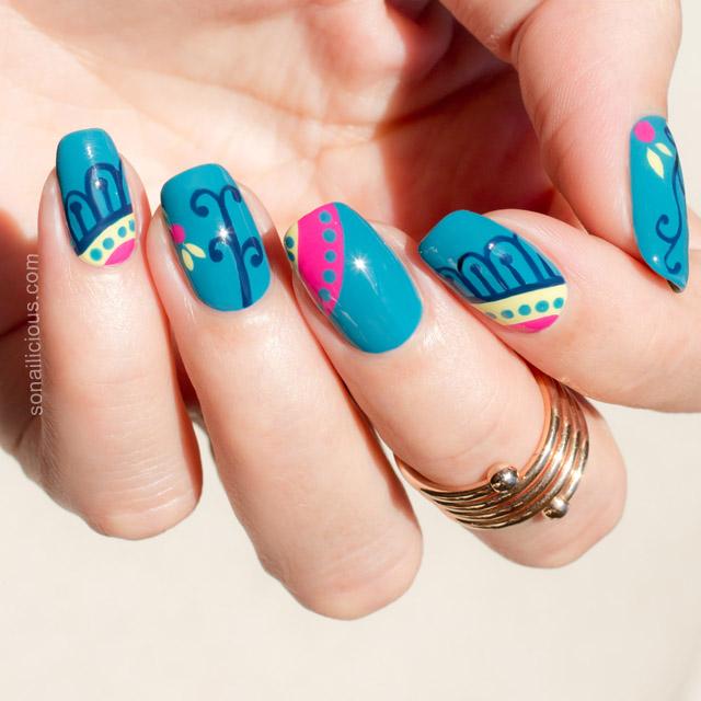 mẫu nail xanh