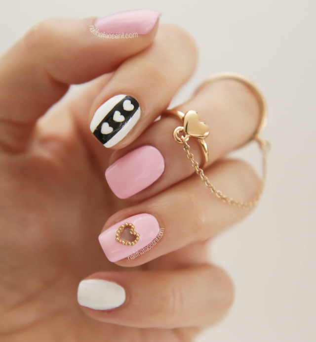 mẫu nail hồng gold