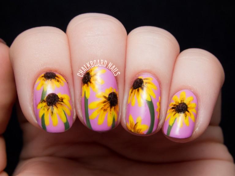 mẫu nail hoa hướng dương