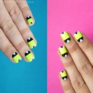 Hướng Dẫn Vẽ Nail: Nail Hình Học Với Sắc Màu Neon