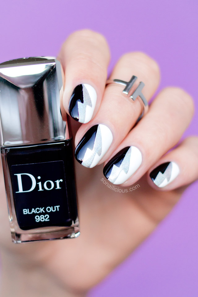 cool-black-and-white-nail-art-Dior-Black-Out