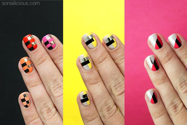mẫu nail color blocking