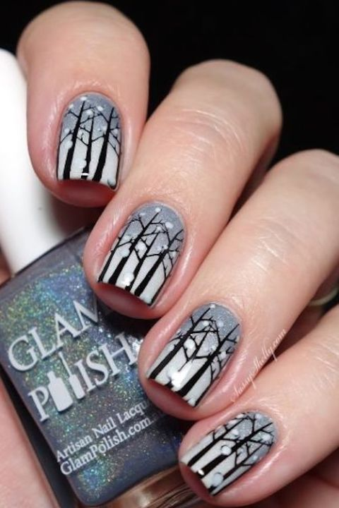 gallery-1479154218-snowy-forest-winter-nail-art-gray-gradient-with-tree-stamping