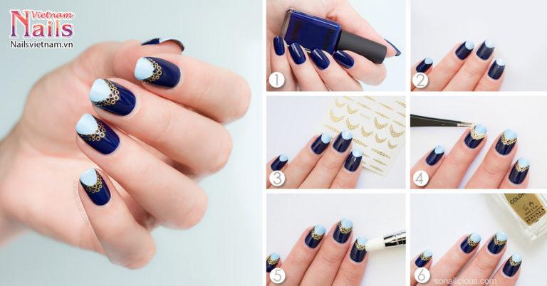 Mẫu nail phong cách Reverse French: Dạ huyễn | NailsVietnam